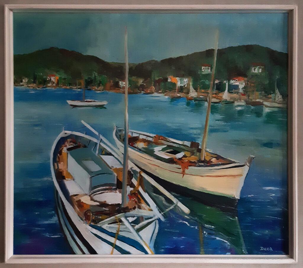 Miel Deca toile 2 bateaux de pêche Le Lavandou circa 1960